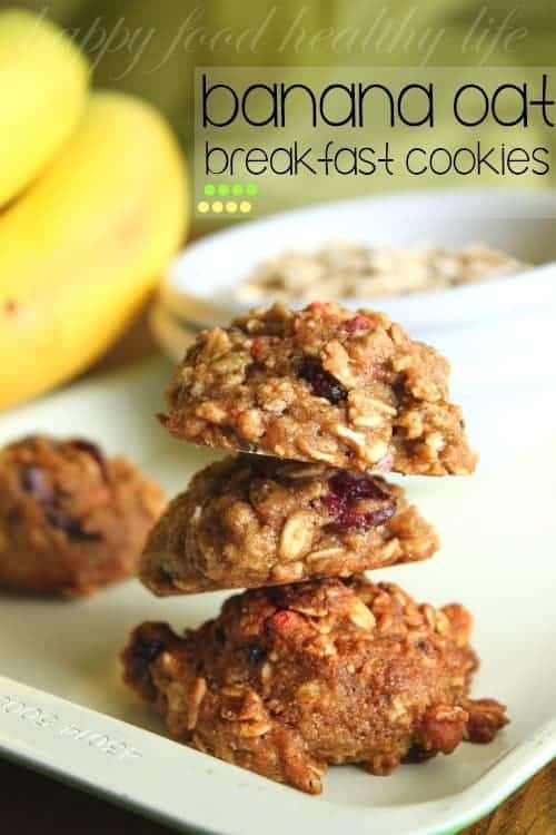 Banana Oat Breakfast Cookies stacked on top of each other