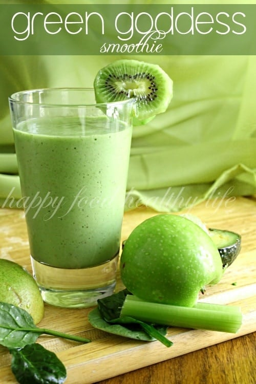 Green Goddess Smoothie - a healthy snack that's packed full of green fruits and veggies. This is one smoothie you're not going to get enough of!