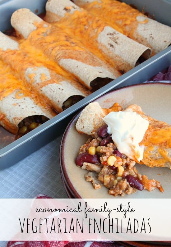 Economical Family-Style Vegetarian Enchiladas // Happy Food Healthy Life