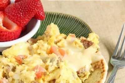 Open-Faced Caprese Egg Scramble