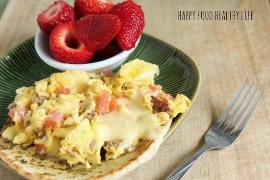 Open Faced Caprese Egg Scramble // Happy Food Healthy Life