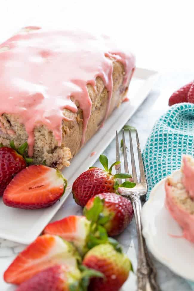 STRAWBERRY POUND CAKE WITH STRAWBERRY GLAZE | DAIRY-FREE | VEGAN | HEALTHY | DESSERT