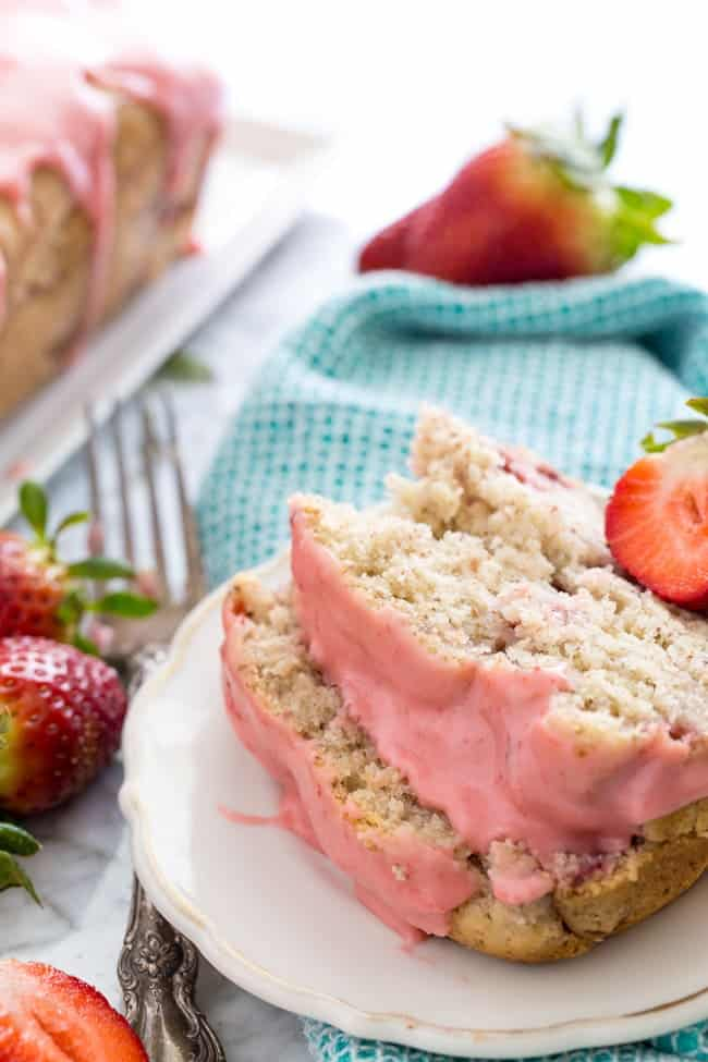 STRAWBERRY POUND CAKE WITH STRAWBERRY GLAZE | DAIRY-FREE | VEGAN | HEALTHY | DESSERT