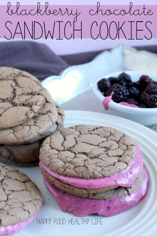 Blackberry Chocolate Sandwich Cookies. Two perfect chocolate cookies sandwiching a sweet fresh blackberry filling. So simple, and so delicious!  // Happy Food Healthy Life