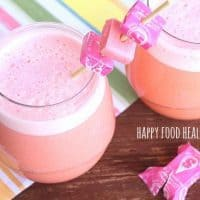 """Pink Starburst Cocktail with Pinnacle Vodka .... tastes EXACTLY like everyone's favorite Starburst! And this drink has even been """"lightened up"""" a bit on the calories! // Happy Food Healthy Life"""