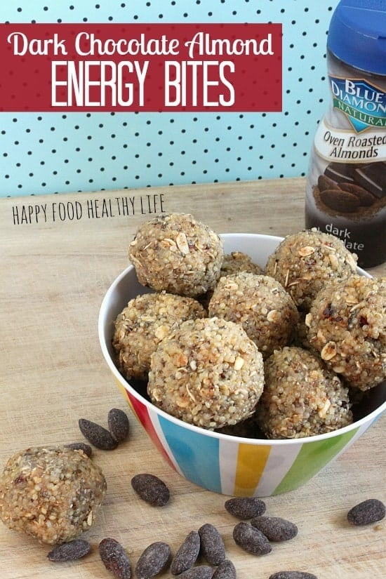Dark Chocolate Almond Energy Bites. These bites come together in half an hour, pack a ton of protein, and even a bit of sweet! A perfect way to grab a little energy mid-day while catering to your sweet tooth! // Happy Food Healthy Life