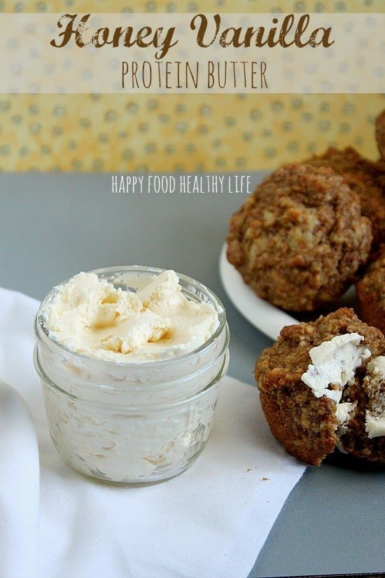 Honey Vanilla Protein Butter. What a genius idea to add flavor to your butter AND balance out your fats with a little protein! Brilliant! // Happy Food Healthy Life