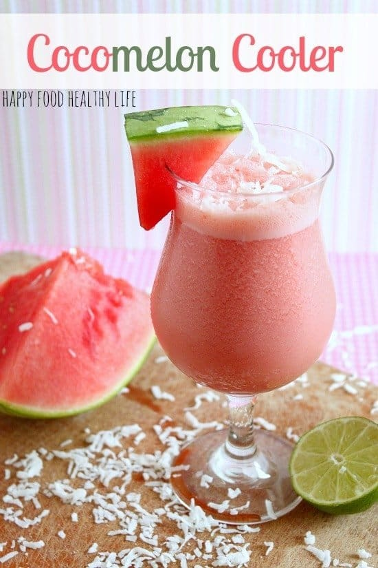 Cocomelon Cooler. That's right, a perfect blend of watermelon and coconut, combined to create a wonderfully refreshing beverage {nonalcoholic} // www.happyfoodhealthylife.com