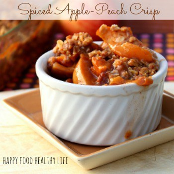 Spiced Apple-Peach Crisp {with or without whiskey} A wonderful way to say goodbye to summer while greeting autumn flavors // Happy Food Healthy Life #boozeybaking #crisp #fruit