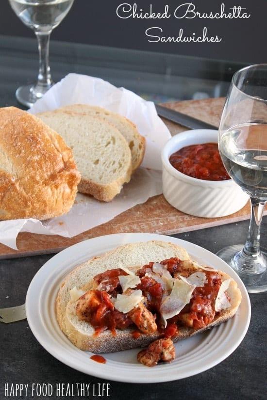 Open-Faced Chicken Bruschetta Sandwiches for Date-Night-In #ad #shop
