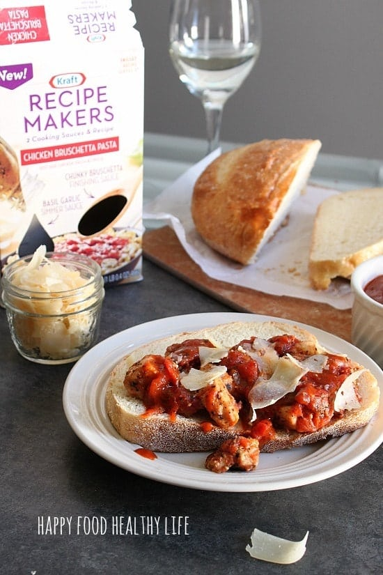 Open-Faced Chicken Bruschetta Sandwiches for Date Night In #ad #shop