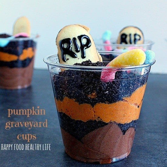 Pumpkin Graveyard Dirt Cups. These Graveyard Dirt Cups come together in about 30 minutes and are a perfect treat for any fall occasion! See how to switch them up for different holidays! // www.happyfoodhealthylife.com