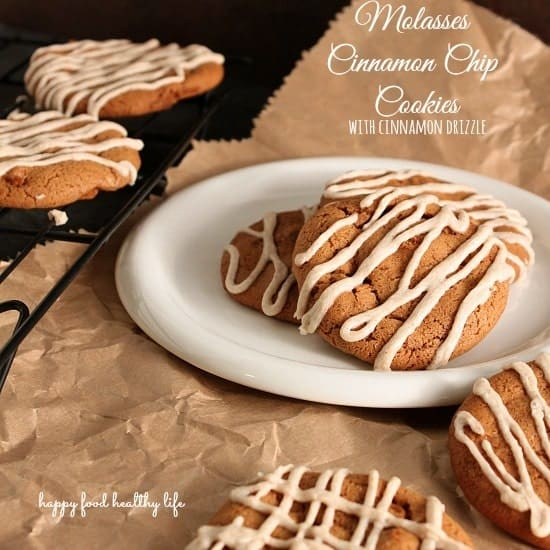 Molasses Cinnamon Chip Cookies with Cinnamon Drizzle. Super soft and flavorful! Could eat so many of these!