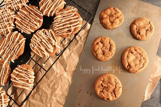 Molasses Cinnamon Chip Cookies with Cinnamon Drizzle