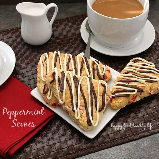 Peppermint Scones - a simple and cozy way to start your holiday baking season off right! www.happyfoodhealthylife.com #shop #loveyourcup #cbias