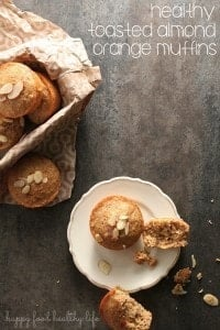 Healthy Toasted Almond Orange Muffins - So simple. Healthy Ingredients. Good for Digestion. www.happyfoodhealthylife.com