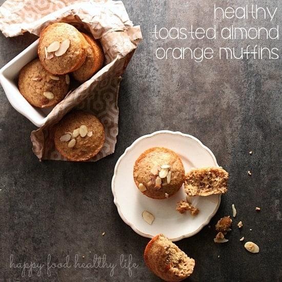 Healthy Toasted Almond Orange Muffins. www.happyfoodhealthylife.com