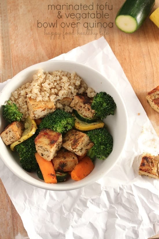 Marinated Tofu and Vegetable Bowl over Quinoa. Seriously one of the best things I've ever eaten! www.happyfoodhealthylife.com