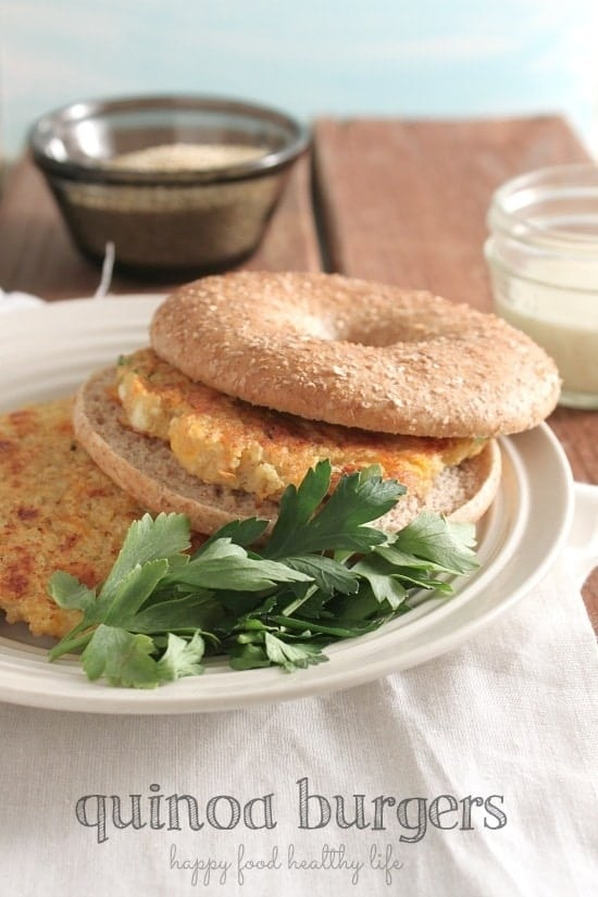 Quinoa Burgers - a healthy vegetarian weeknight meal - www.happyfoodhealthylife.com