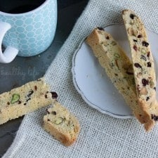 Coconut Pistachio Biscotti. A great way to get some of those necessary nutrients as well as offering a ton of a yum-factor!