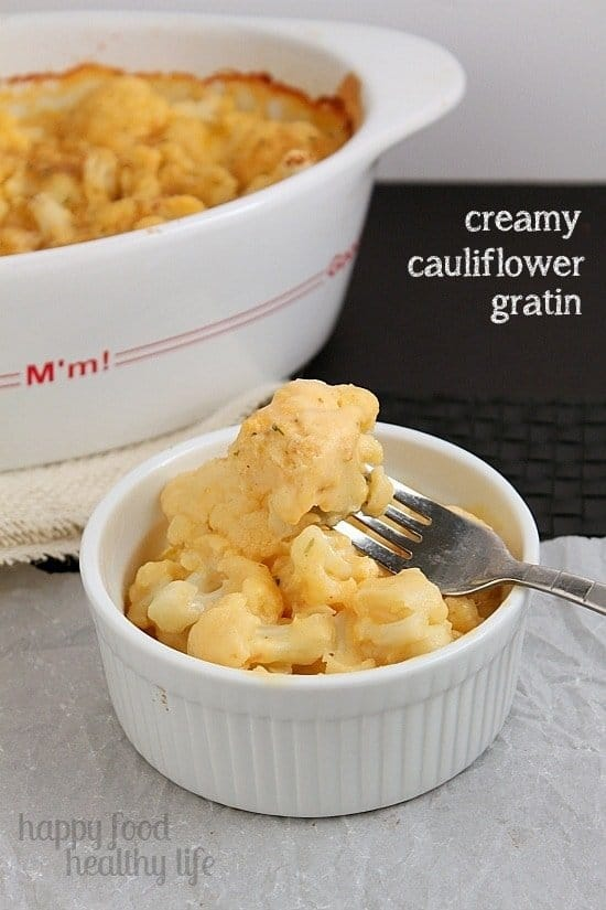 Creamy Cauliflower Gratin.  A wonderful and healthier substitute to the starchy potato gratin without sacrificing flavor! www.happyfoodhealthylife.com
