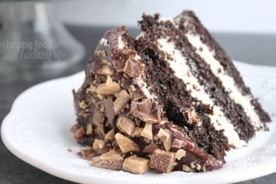 Dark Chocolate Cake with Coffee Buttercream from www.happyfoodhealthylife.com