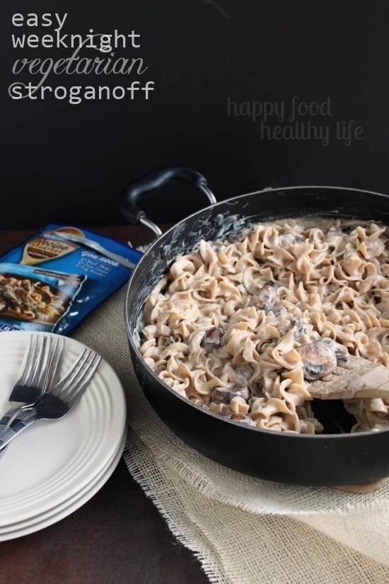 Easy Weeknight Stroganoff. This vegetarian twist on your classic stroganoff pasta dish comes together in just a few minutes and is loved by the whole family! www.happyfoodhealthylife.com #vegetarian #easydinner #pasta