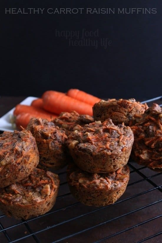 Healthy Carrot Raisin Muffins - www.happyfoodhealthylife.com