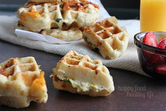 Savory Egg Scramble Stuffed Waffles www.happyfoodhealthylife.com