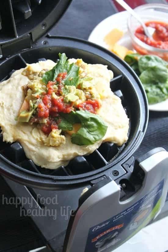 Savory Egg Scramble Stuffed Waffles www,happyfoodhealthylife.com