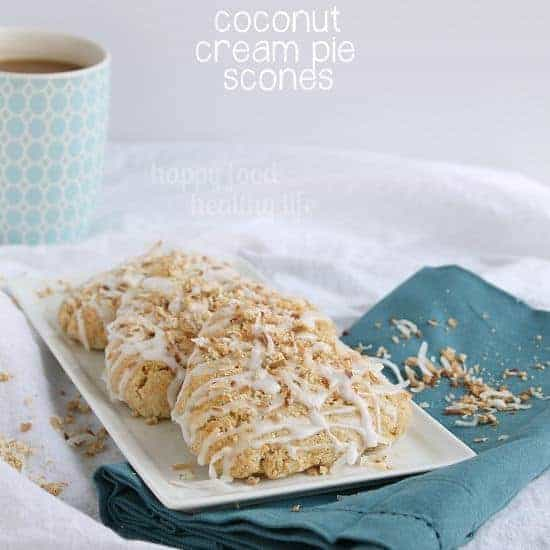Coconut Cream Pie Scones - Pie for breakfast? Made with whole wheat flour, coconut milk, and sweetened with honey. Sold! www.happyfoodhealthylife.com #breakfast #pastry #healthier