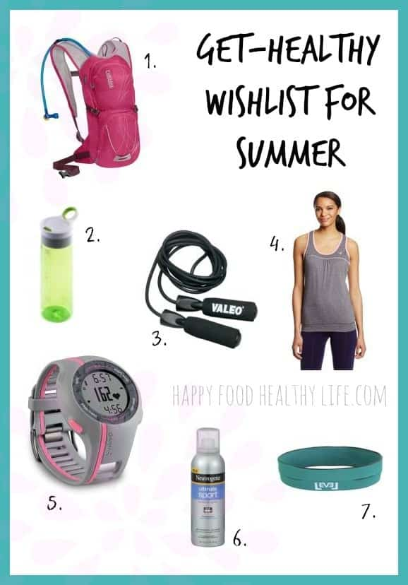 Get-Healthy Wishlist for Summer - Want to keep up your fitness routine but aren't sure how to stay motivated with the hot temperatures? Add these items to your wishlist to keep working on your goals all summer long! www.happyfoodhealthylife.com #fitness #healthy #goals