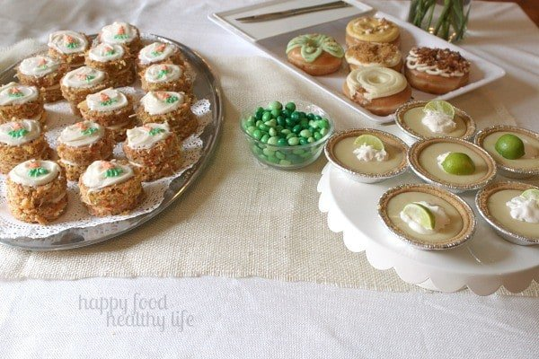 Mini Carrot Cakes, Beyond Glazed Donuts, and Key Lime Pies - Springtime Dessert Bar - www.happyfoodhealthylife.com