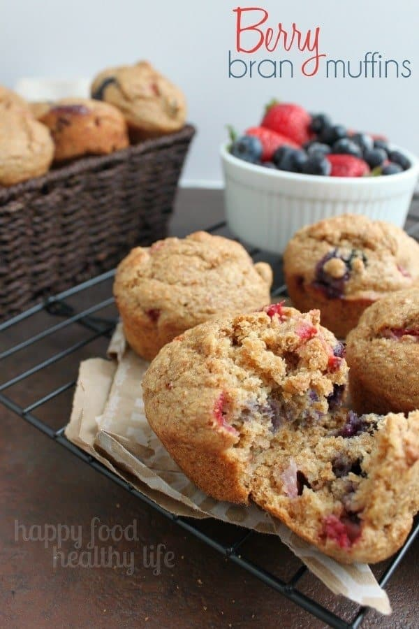 Berry Bran Muffins - a perfect on-the-go snack or breakfast for everyone in your family. www.happyfoodhealthylife.com #healthy #snack #breakfast #muffin