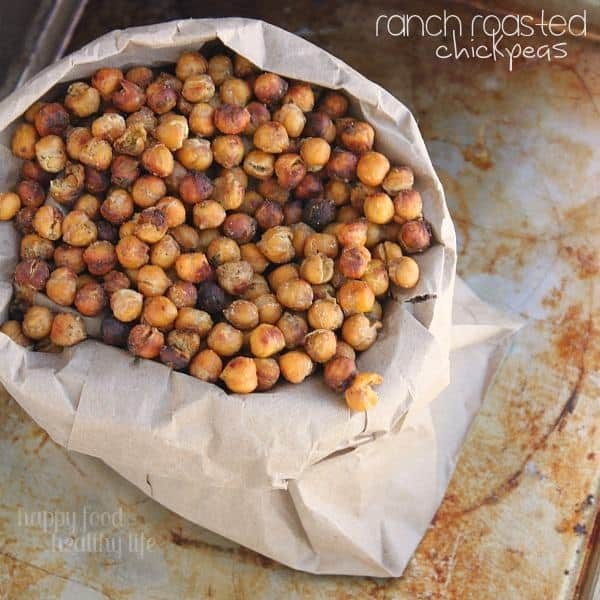Ranch Roasted Chickpeas - Looking for a healthy alternative to your potato chip habit? These roasted chickpeas are the perfect solution and are so addictive! www.happyfoodhealthylife.com #healthy #snack