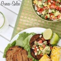 Guaca-Salsa over my Veggie Burgers. Forget the bun. Forget the ketchup and mustard. This is all I need! www.happyfoodhealthylife.com