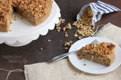 Honey Oat Banana Bread Cake topped with Granola - A delicious twist on your classic banana bread. www.happyfoodhealthylife.com
