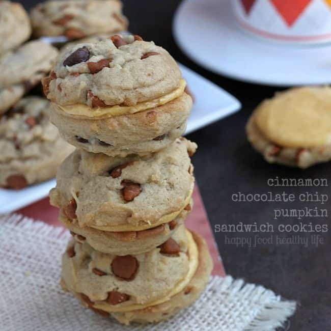 Cinnamon Chocolate Chip Cookies {with Pumpkin Buttercream option} - If you're looking for a cookie that will get you in the mood for harvest weather, this is where you should start! www.happyfoodhealthylife.com