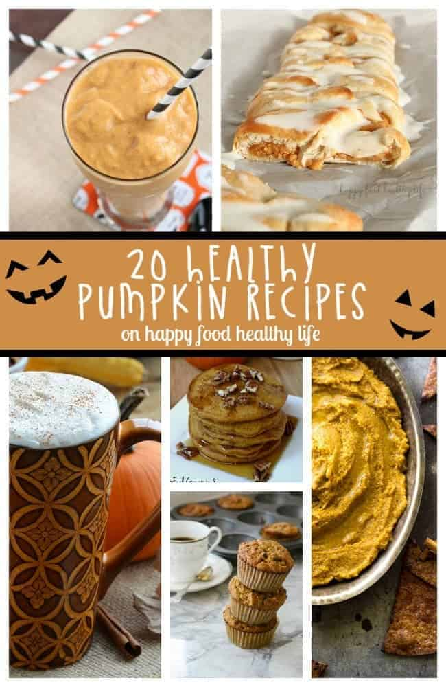 20+ Healthy Pumpkin Recipes - Sick of seeing all the ooey-gooey pumpkin recipes that aren't going to get you any closer to reaching your health goals? Here are a bunch of healthier recipes that are sure to keep you on track during pumpkin season! www.happyfoodhealthylife.com