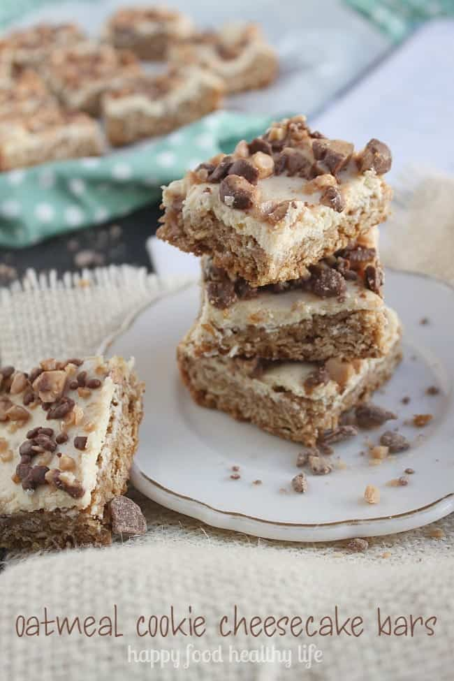 Oatmeal Cookie Cheesecake Bars Recipe from the cookbook Dessert Mash-Ups by Dorothy Kern of www.CrazyforCrust.com | www.happyfoodhealthylife.com
