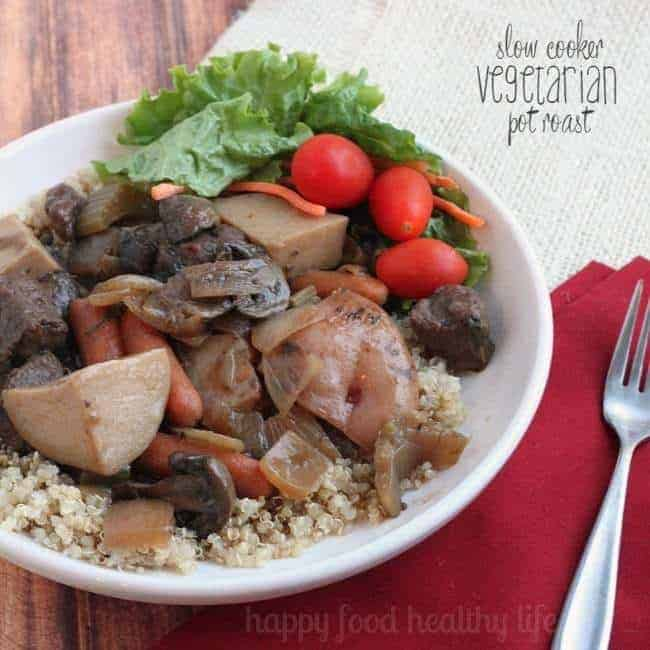 Slow Cooker Vegetarian Pot Roast - a super comforting meal that is prepared while you're busy taking care of the things you want to. And it'll taste like you've slaved in the kitchen all day. www.happyfoodhealthylife.com