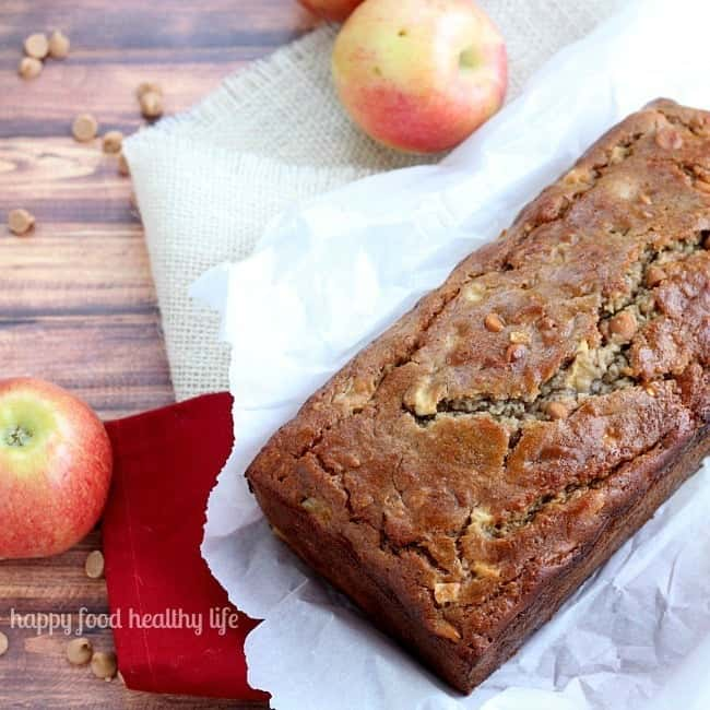 Apple Peanut Butter Banana Bread - an amazing way to use all your fall apples! www.happyfoodhealthylife.com