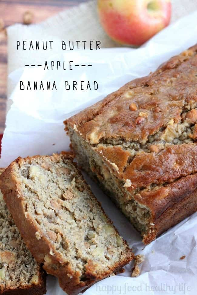 This Peanut Butter Apple Banana Bread is the most comforting way to use all those fall apples this year. www.happyfoodhealthylife.com