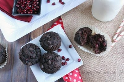 Healthy Chocolate Pomegranate Muffins