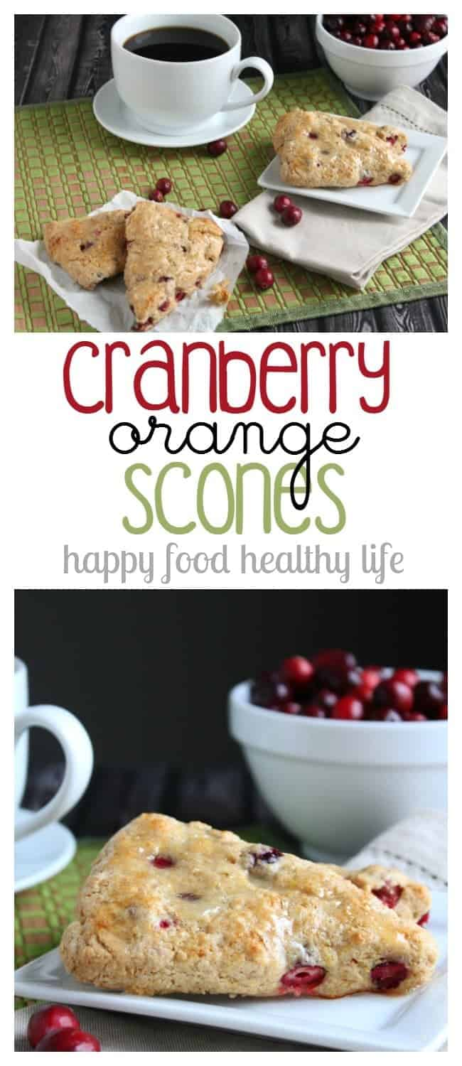 Cranberry Orange Scones - the perfect holiday treat to go with your coffee while enjoying the festivities - www.happyfoodhealthylife.com