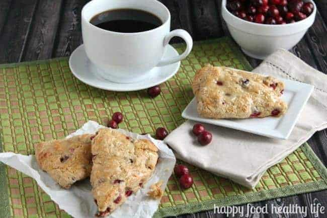 Cranberry Orange Scones - the perfect seasonal treat for brunch, made with healthier ingredients than most scones | www.happyfoodhealthylife.com