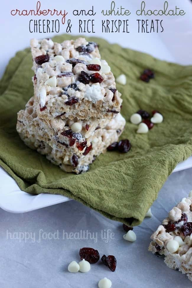 Cranberry & White Chocolate Cheerio & Rice Krispie Treats - a fun and festive twist on a classic favorite. Perfect for gifting! | www.happyfoodhealthylife.com