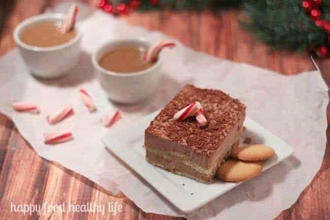 Quick & Easy Frozen Peppermint Mocha Tiramisu. A perfect dessert for entertaining this holiday season. - www.happyfoodhealthylife.com