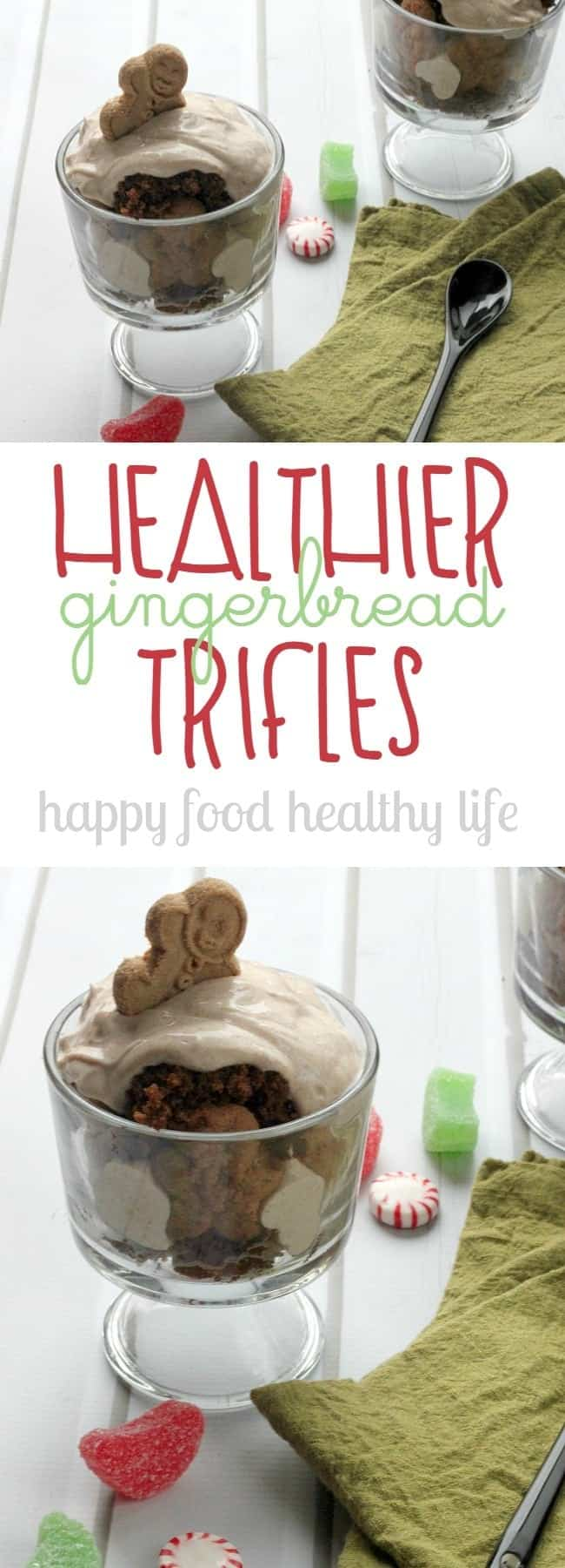 Healthier Gingerbread Trifles - substituting in healthy ingredients like whole wheat flour and greek yogurt makes this amazing holiday treat a healthier alternative! www.happyfoodhealthylife.com