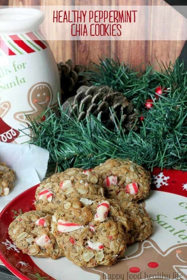 Healthy Peppermint Chia Cookies. These cookies are full of holiday flavor and tons of good-for-you ingredients - www.happyfoodhealthylife.com